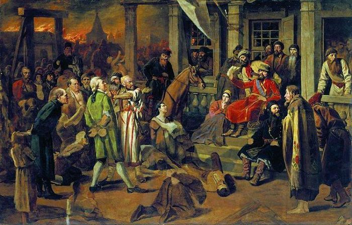 Суд Пугачева. Картина В.Г.Перова.